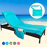 YOULERBU Beach Chair Cover Towel with Pillow,Pool Lounge Chaise Towel Cover with Detachable Side Pockets Holidays Sunbathing Quick Drying Towels