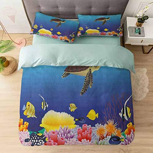 Duvet Cover Sets, Modern Cartoon Deep Sea Nautical Navy Aquarium Fish Turtle Rocks Moss Ar, Comforter Cover Bedding Set 3 Pieces (1 Duvet Cover + 2 Pillow Shams), Multicolor