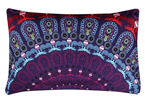 Queen's designer Beautiful Bohemian Flower Ethnic Boho Mandala Purple Pattern Cotton Linen Home...