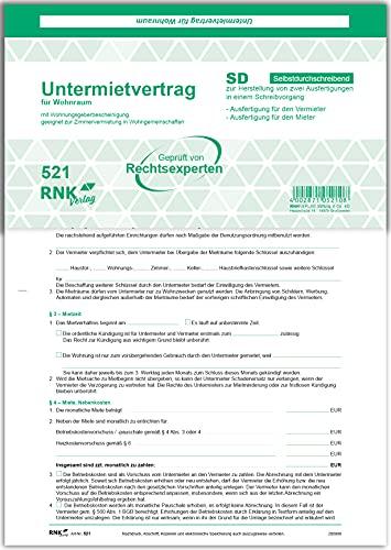 RNK 521 - Contrato para alquiler (SD, 2 x 2 hojas, DIN A4, con certificado de establecimiento de vivienda, 25 unidades)