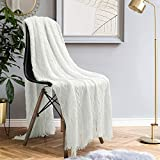 HOMEIDEAS Knit Blanket (50×61 Inches), Soft Textured Acrylic Blanket with Tassels, Lightweight Woven Cream Decorative Blanket for Couch Sofa Chair Bed Living, Throw Blanket Creme