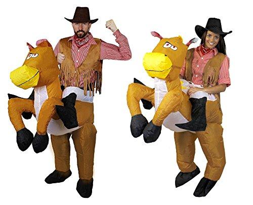 I LOVE FANCY DRESS LTD Cowboy Paar +2 Pferde+2 KOSTÜME+2WESTERNHÜTE=TRAGE Mich -REITE Mich VERKLEIDUNG=5 VERSCHIEDENEN GRÖSSEN=MÄNNER-SMALL + Frauen-XXLarge