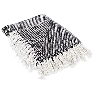 DII 100% Cotton Basket Weave Throw for Indoor/Outdoor Use Camping BBQ's Beaches Everyday Blanket, 50 x 60, Woven Black
