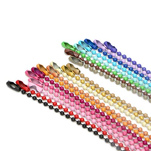 Runde Welle Perlen Tag Kette Eisen Anhänger Kette Schmuckkette-Aprikose * 300