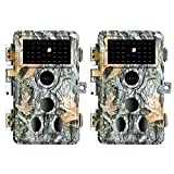 2-Pack Game Trail Deer Cameras No Glow 90ft Night Vision 24MP Picture 1296P H.264 MP4 Video Motion Activated Waterproof 0.1S Trigger Speed Photo & Video Model for Hunting Wildlife or Home Surveillance