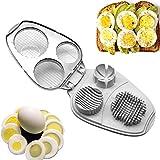 Eierschneider, 3-in-1, Edelstahl, manueller Eierschneider – Eierschneider für hartgekochte Eier...