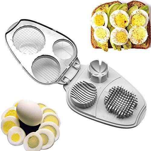 Eierschneider, 3-in-1, Edelstahl, manueller Eierschneider – Eierschneider für hartgekochte Eier – Küchenwerkzeug Free Size Wie abgebildet