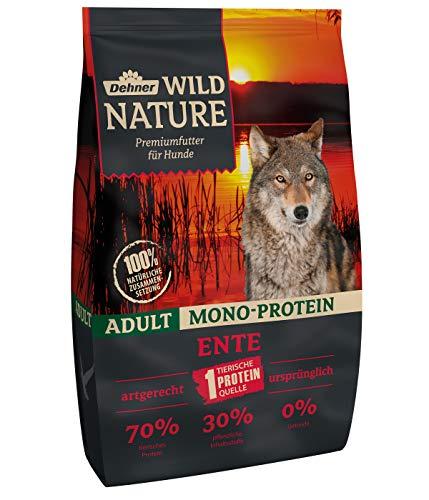 Dehner Wild Nature hondendroog voer voor volwassenen, mono-eiwitten, eend, 4 kg
