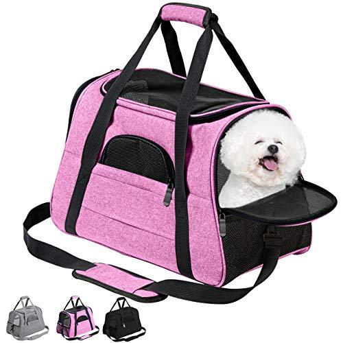 Vailge猫キャリーバッグマット付きペットキャリーバッグ通気性抜群犬キャリー3wayショルダーコンパクト手提げキャリーバッグピンクM