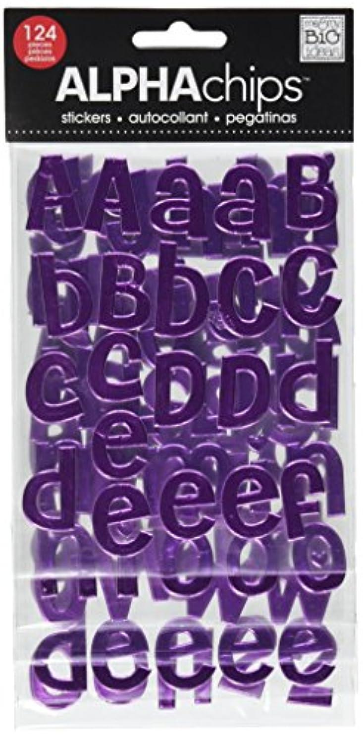 me & my BIG ideas Alpha Chips Designer Chipboard Letter Stickers, Cheri Alphabet Lavender, Foil