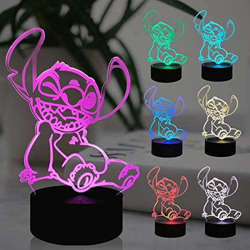Lilo and Stitch Luz para niña Rooom Teedy LED Luz de Noche Decoración Hogar Dibujos Animados Ópticos 3D Punto Lámpara de Mesa Fiesta Cumpleaños Punto de Oso Regalo para Adolescentes Niños Juguete