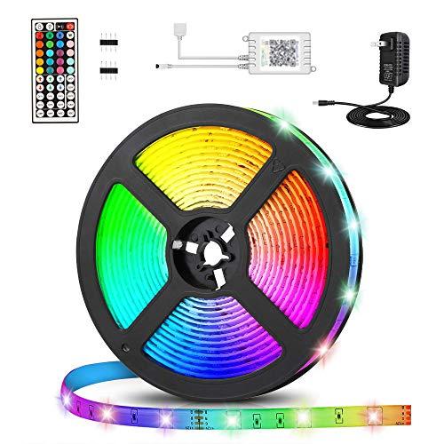 Led Strip 5m, Led Streifen, Hospaop RGB LED Stripes 5M 150LEDs SMD 5050 Schnittbar Selbstklebende Led Streifen mit 44 Tasten Fernbedienung, IP65 Wasserdicht LED Beleuchtung LED Band für Innen außen