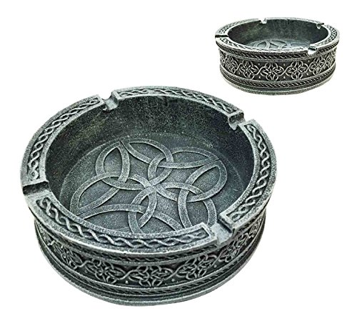 Decorative Exquisite Round Celtic Tribal Knotwork Cigaretter Ashtray Resin Figurine for Cigar Lovers Gift for Smokers Or As Multipurpose Container Coins Keys Holder