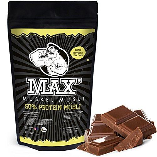 MAX MUSKEL MÜSLI Protein Müsli Low Carb ohne Zucker-Zusatz & Nüsse - Müsli wenig Kohlenhydrate viel Eiweiss Sportlernahrung für Muskelaufbau & Abnehmen 500g Beutel (Schoko)