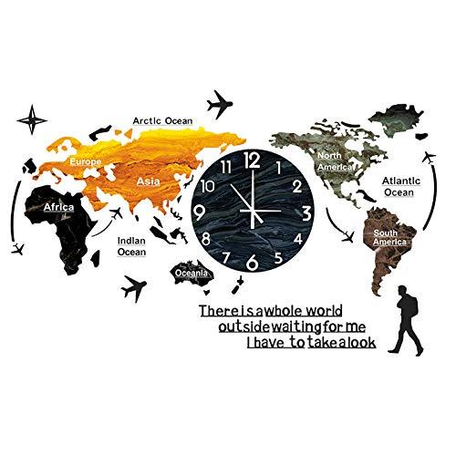 Pevfeciy Reloj De Pared Creativo Espejo De Vaso Reloj Creativas Mapamundi Mudo Salon Decoracion Relojes De Pared De Moda 3D Europeo Sala De Estar Grande,B