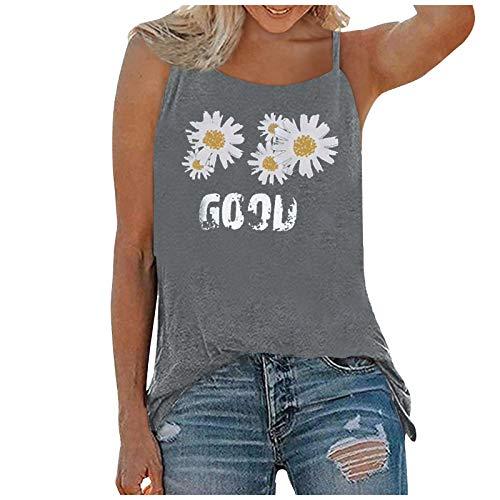Camiseta sin mangas con estampado de girasol de margarita de verano para mujer, camiseta gráfica