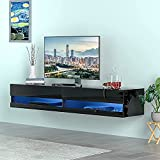 Floating TV Stand for TVs Up to 85 inch, 70 inch Wall Mounted Haning TV Stand with LED Lights, High Glossy Floating Entertainment Centre Hanging Media Console Shelf, Modern Under TV Floating TV Shelf