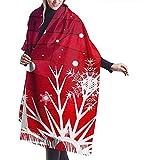 Shichangwei Bufanda cálida de invierno para mujer y hombre bufanda larga suave bufanda de cachemira azul rojo fondo de Navidad con copos de nieve bufanda decorativa bufanda