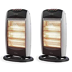 These Beldray halogen heaters use infrared to focus heat, warming a specific spot to prevent wasting energy heating an empty room. With 1200 W power, they each have 3 heat settings and a wide angle oscillating function so you can manage the temperatu...