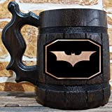 Batman Beer Mug, Wooden Beer Stein, Geek Gift, Personalized Beer Stein, Dark Knight Tankard, Custom Gift for Men, Gift for Him