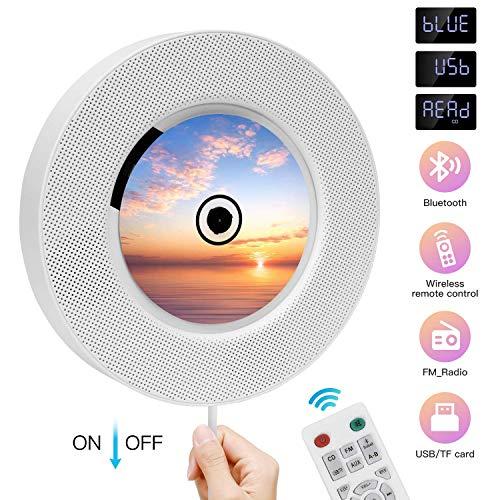 Lettore CD portatile con Altoparlanti hifi integrati da parete Bluetooth, boombox audio per la casa Telecomando Radio fm usb mp3 cuffie 3,5 mm Ingress