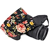 Wolven Pattern Cotton Camera Neck Shoulder Strap Belt Compatible with DSLR/SLR/Men/Women etc, Black Rose