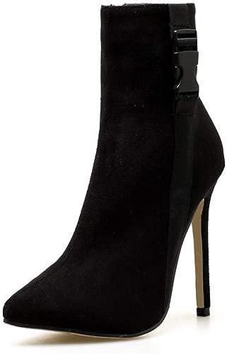 Yue Century Damen-Gürtelschnalle-Absatz-Zipper Spitzschuh Stiletto Knight Stiefel Herbst und Winter Fashion Warm Bare Stiefel für Dating
