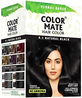 Color Mate Hair Color -9.1 Natural Black No Ammonia 150 G (10 Sachets Of 15gm Each)