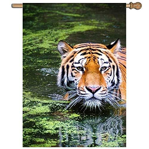 KDU Fashion Family vlag, seizoensgebonden vlaggen van de drijvende tijger, stijlvolle seizoensgebonden tuinvlaggen voor tuin decoratie, 68.6x94cm