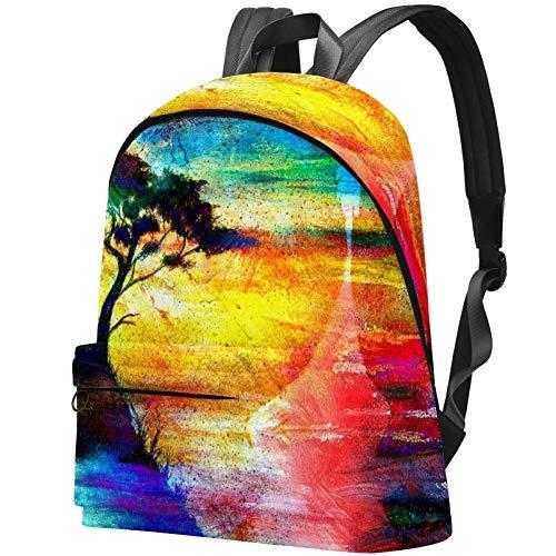 Wikingerboot und Baum am Strand Bag Teens Student Bookbag Leichte Umhängetaschen Reiserucksack Tägliche Rucksäcke