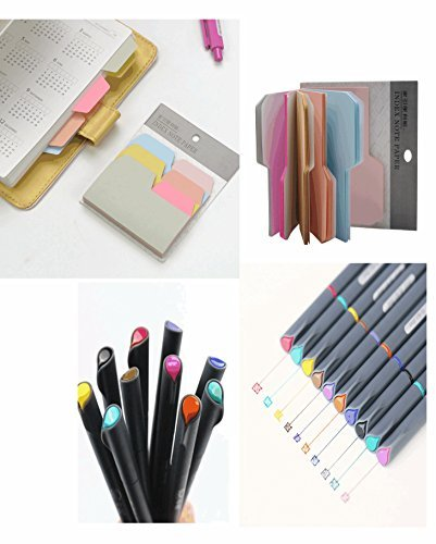 Acroact Fineliner Color Pens Set and Stick Notes Pack, Fine Line Point Markers Instruments for Coloring Book, Office Supplies, Bullet Journal, Journals and Assorted Color Cute Sticky Notes.