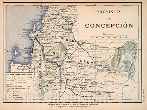 Historic Map : Chile, Mapa No. 25. Provincia de Concepcion, 1903, Vintage Wall Art : 30in x 24in