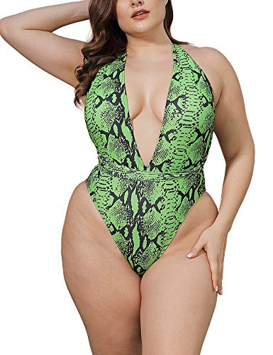 Allegrace Women Plus Size Swimsuits One Piece Sexy Deep V Self Tie Halter Monokinis BK10 Bright Green Snakeskin 4X