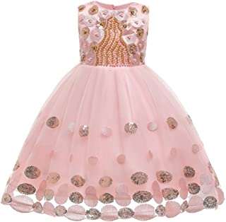 TOYANDONA Princess Tulle Tutu Pageant Girl Dress Sleeveless Sequins Pearl Tutu Skirt for Birthday Wedding Party Dress Fancy Dress Up Outfits Pink 150cm