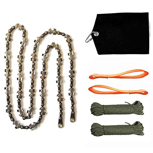Homyall 48 Inch High Reach Tree Limb Hand Rope Chain Saw Cuts Branches Easily Manual Pocket Chainsaw with 62 Sharp Blades on Both Sides for Gardening Camping Hunting Hiking Survival Gear
