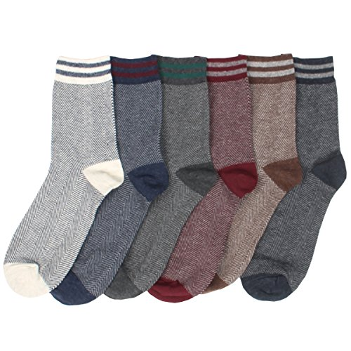 Mens 6 Pairs Comfy Herringbone Patterned Cool Casual Cotton Fashion Crew Socks