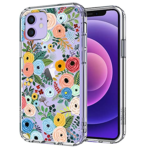 MOSNOVO Wild Floral Flower Pattern Designed for iPhone 12 Case 6.1 Inch/Designed for iPhone 12 Pro Case 6.1 Inch,Clear Case with Design Girls Women,TPU Bumper with Protective Hard Case Cover
