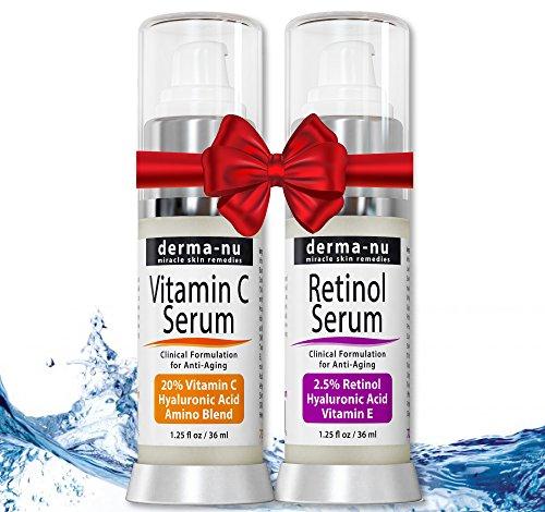 Conjunto de un suero con 2,5% de retinol y un suero de vitamina C, con ácido hialurónico y vitamina E. Sueros antienvejecimiento de calidad para líneas finas y arrugas.