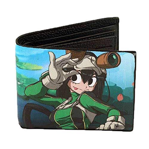 My Hero Academia Estilo Simple Anime Patrón Imprimir Monedero Estudiante Color de Dibujos Animados Cartera de Cuero de múltiples Capas de PU Unisex (Color : A05, Size : 12 X 10 X 2cm)