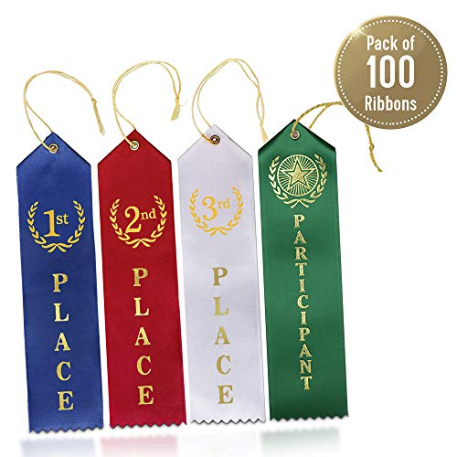 Award Ribbons (100 Count) - 1st, 2nd, 3rd & Participant Premium Ribbons 25 Each - Blue, Red, White & Green Colors Featuring Gold Print - Event Card - Ideal for Competitions, Events & Sports