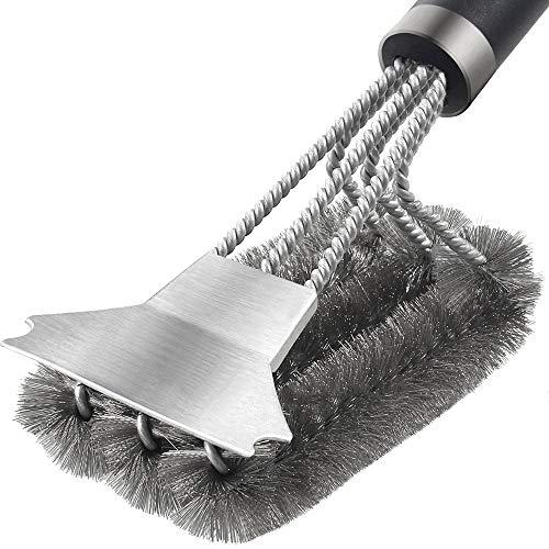 Bestine Cepillo de limpieza de parrilla de metal para barbacoa, espátula, cerdas de alambre de acero inoxidable, ideal para carbón de gas, parrilla eléctrica de acero inoxidable