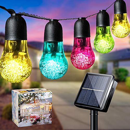 LiyuanQ Solar String Lights Garden 33Ft 50LED Solar String Bulb Light Outdoor 8 Mode Waterproof Decorative Crystal Bubble Ball Fairy Light for Patio Yard Home Tree Wedding Christmas Party(Multi-Color)