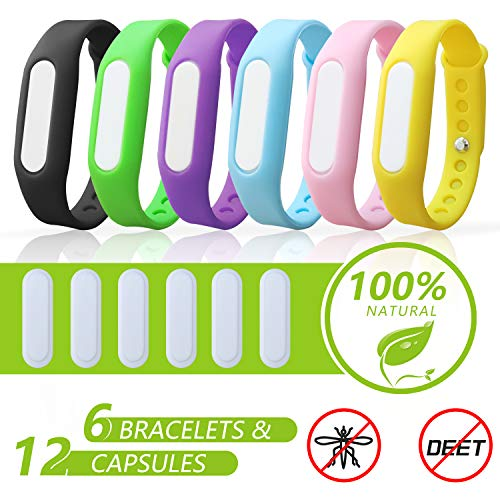 6 Pack Mosquito Repellent Bracelets, Natural and Waterproof Wrist Bands for Adults, Kids, Pets - [Individually Wrapped], Travel Protection Outdoor - Indoor