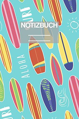 Notizbuch A5 Muster Sommer Surfer Surf Aloha Brett: • 111 Seiten  • EXTRA Kalender 2020 •  Einzigartig •  Liniert •  Linie •  Linien  • Geschenk • Geschenkidee