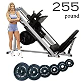 Body-Solid GLPH1100 Leg Press Hack Squat Machine with 255-Pound Cast Black Enamel Olympic Plates