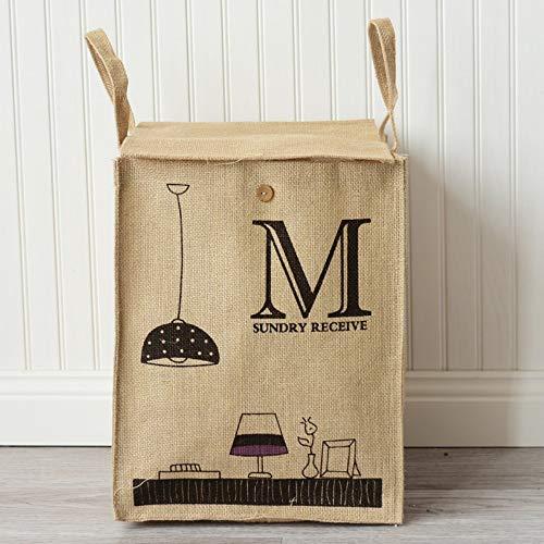 XIAOBAOZIXYL opbergdoos van linnen van katoen, letters M en kroonluchter opbergemmer voor vuile kleding Classificeerde mand