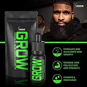 GROW Maximum XXL Beard Growth & Mustache Accelerator Serum - Beard Growth Oil for Men to Fix Patchy Beards and Fill Patches GUARANTEED - Facial Hair Thickening Conditioner & Enhancer - Made in the USA
