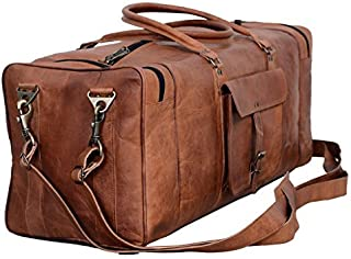 Leather Duffel Bag 28 inch Large Travel Bag Gym Sports Overnight Weekender Bag by Komal s Passion Leather, Unisex-Adult, Brown, 28 inch