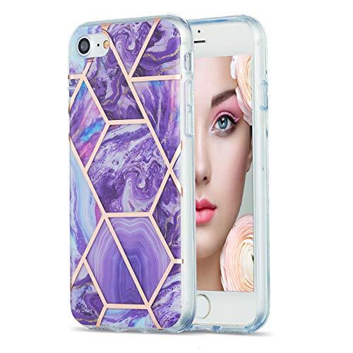 Coque de Protection en marbre pour iPhone Se 2020/8/7 - Motif en marbre - IMD - Souple - Flexible - en Silicone (Violet foncé)
