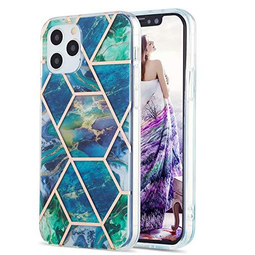 Fundas para iPhone 12 Pro (6.1 pulgadas), caso de TPU con patrón de mármol (azul-verde)